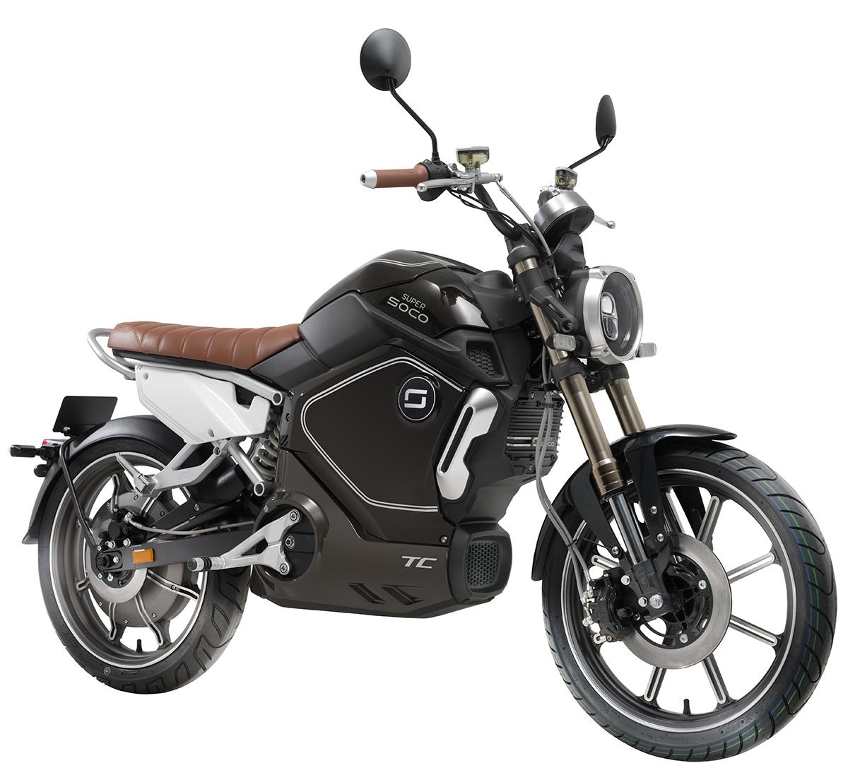 Elektromotorrad Super Soco TC schwarz Seitenansicht