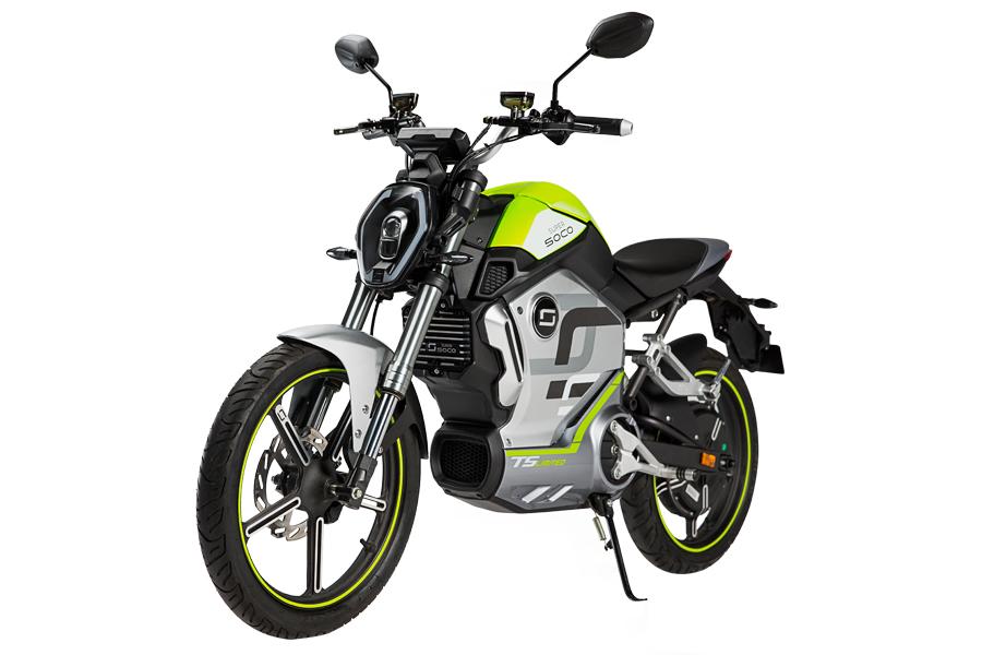 Elektroroller Super Soco TS Limited Edition grün seitliche Frontansicht