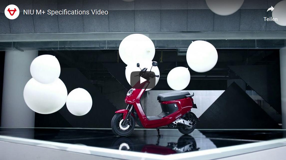 Elektroroller NIU M Plus in Rot Specifications Video