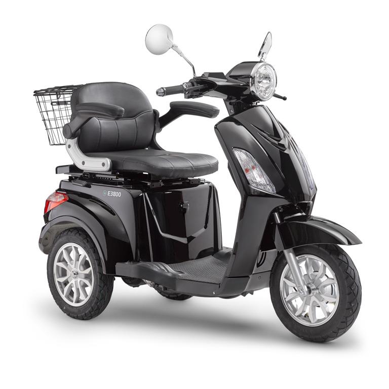 Elektroroller für Best Ager Dreirad in schwarz LuXXon3800 SEitansicht
