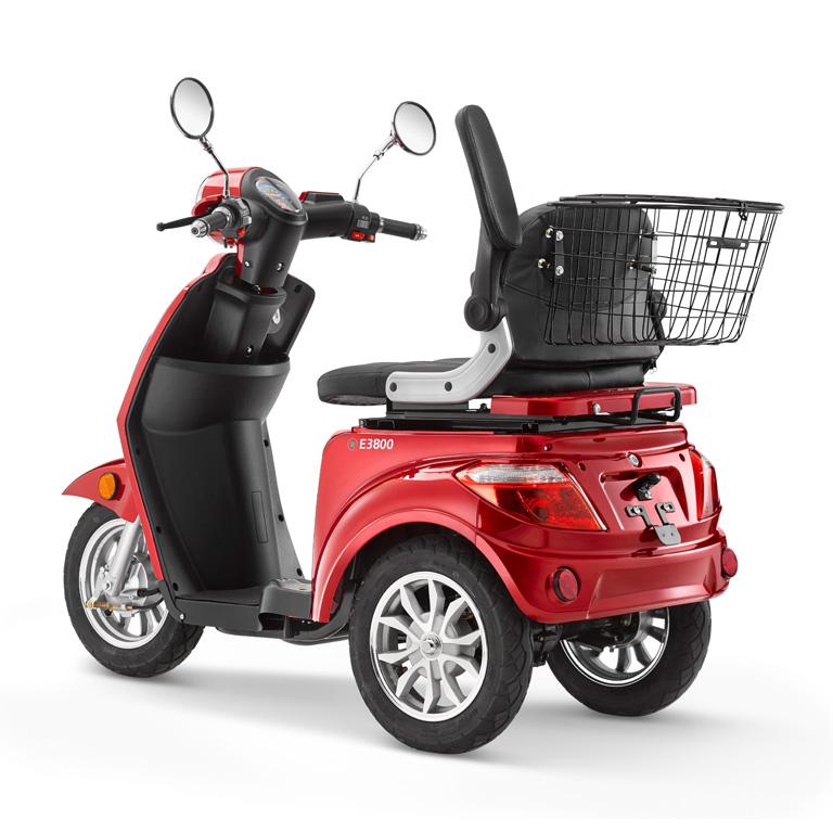 Elektroroller für Best Ager Dreirad in rot LuXXon3800 Rückansicht