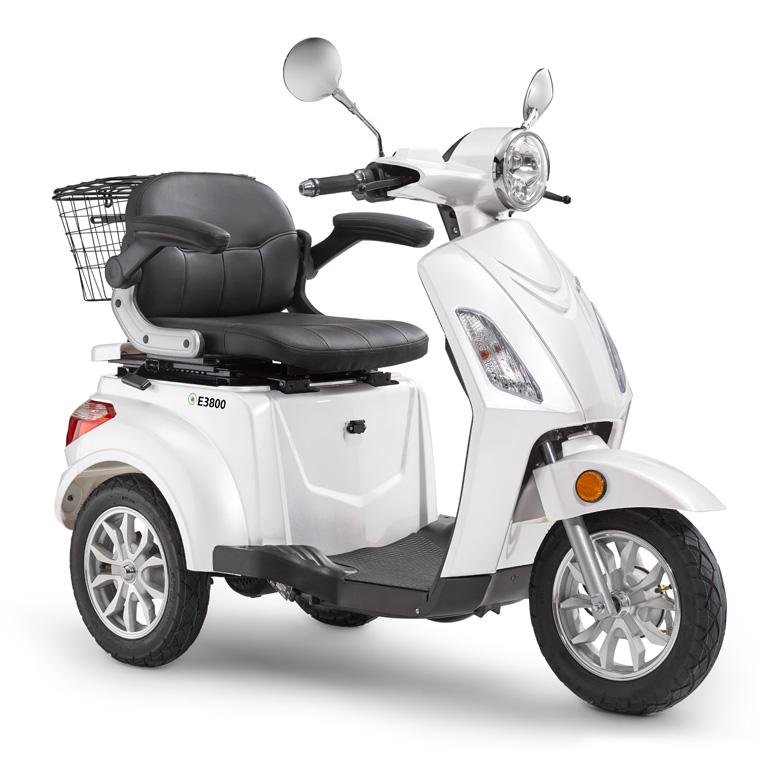 Elektroroller für Best Ager Dreirad in weiss LuXXon3800 Seitenansicht