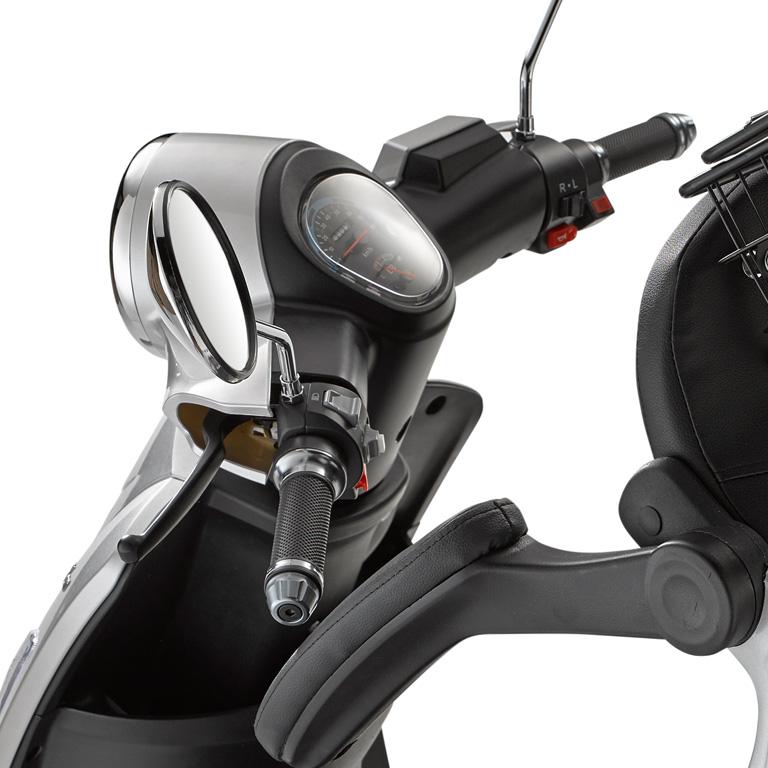 Elektroroller für Best Ager Dreirad in grau LuXXon3800 Lenkrad