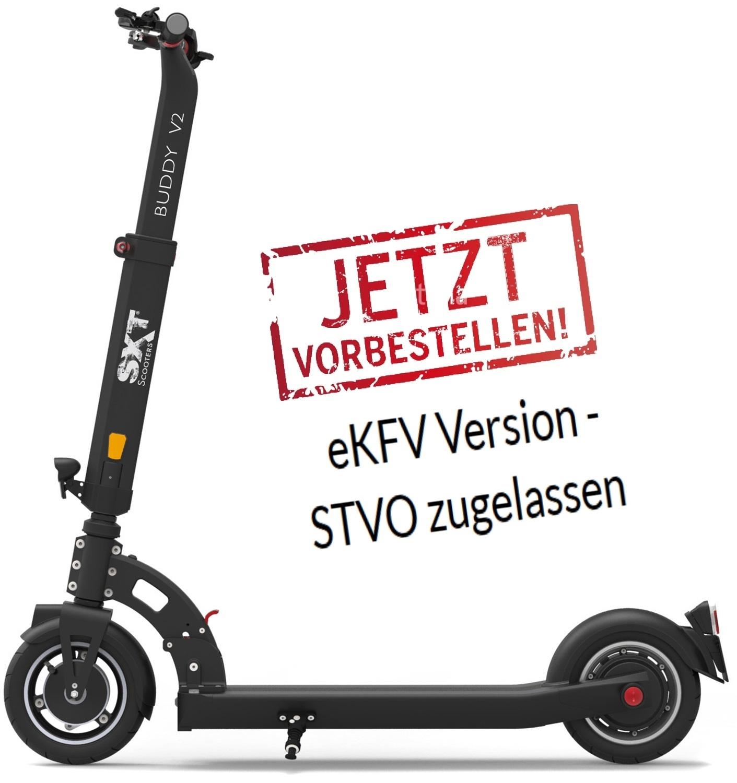 eScooter SXT Buddy in schwarz Seitenansicht mit StVO