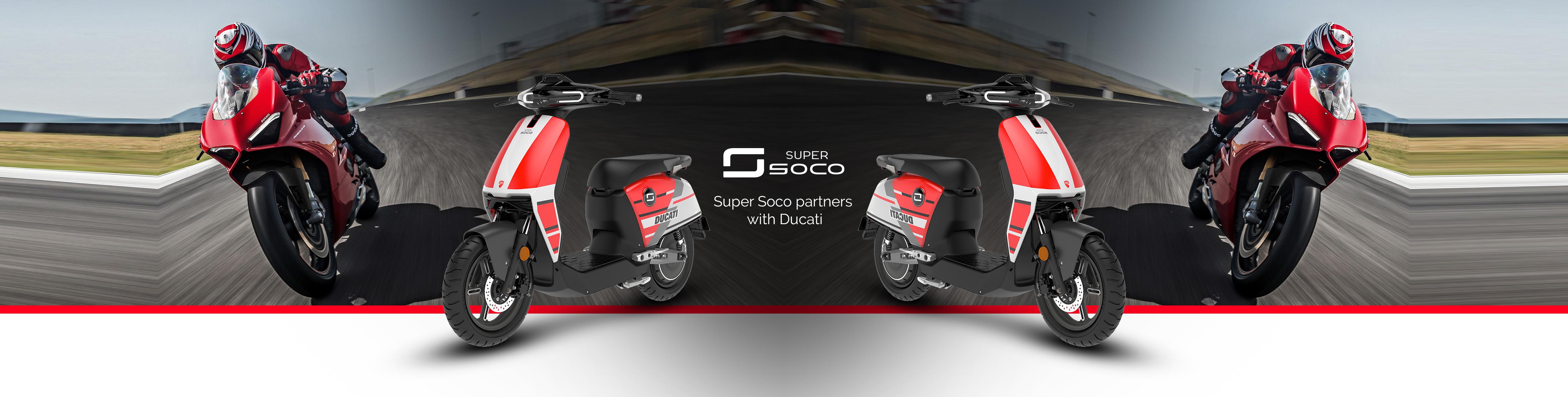 Elektroroller Super Soco CUX Ducati in Fahrt auf Strasse