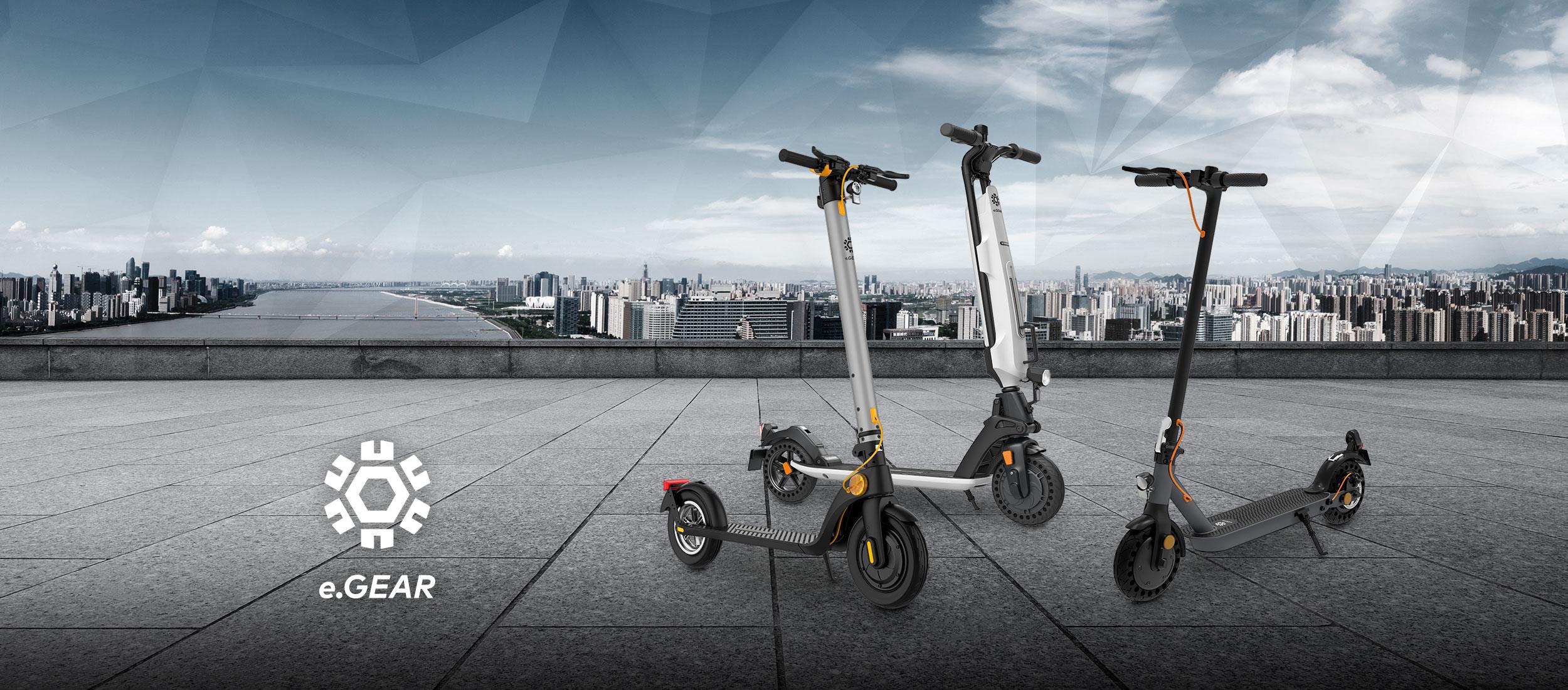 eScooter Trekstor e.Gear vor Großstadtkulisse in grau