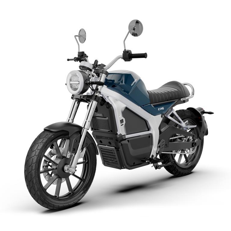 Elektromotorrad Horwin CR6  in der Seitenansicht blau