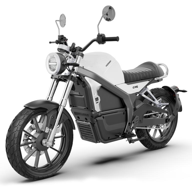 Elektromotorrad Horwin CR6 in der Seitenansicht weiss