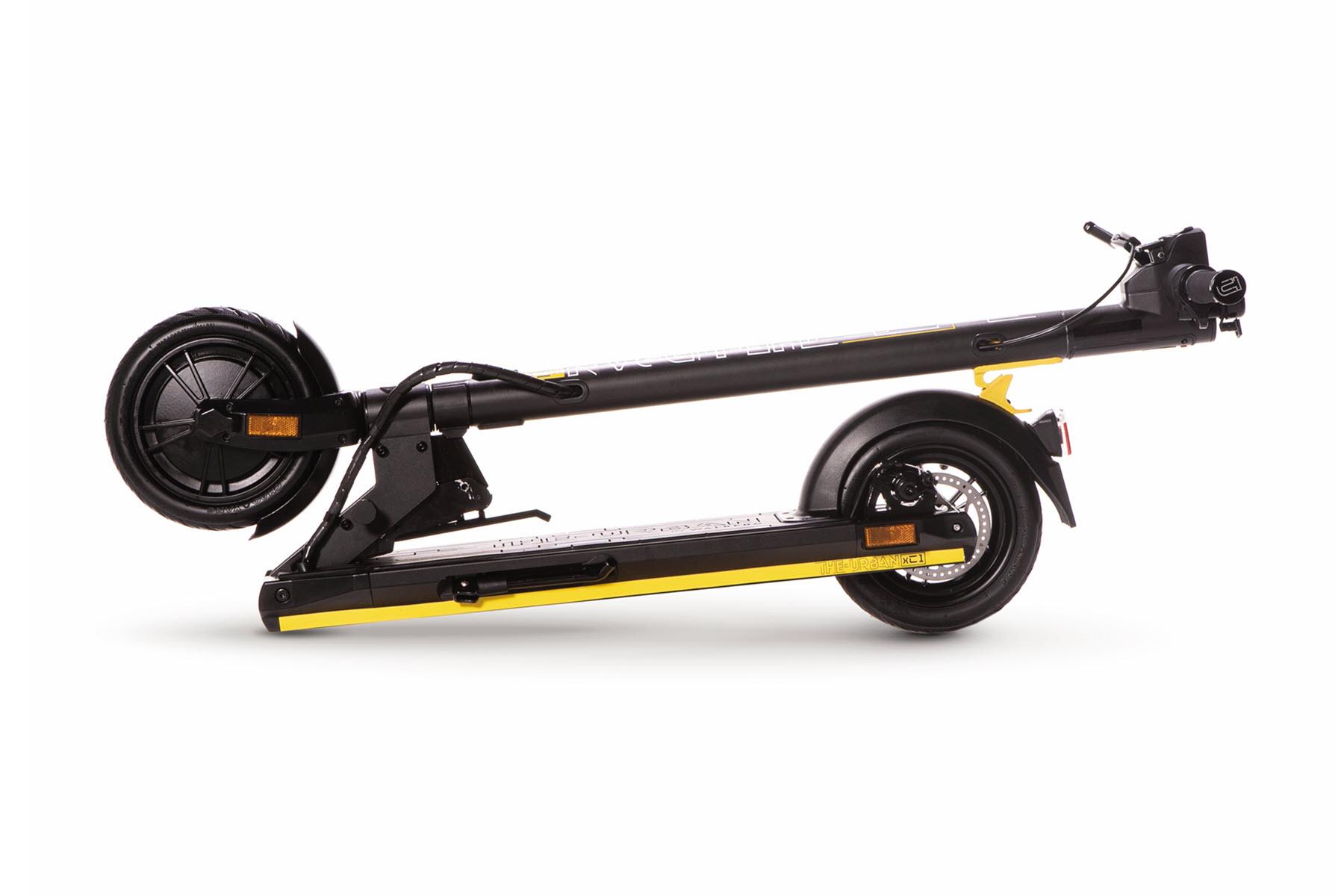 eScooter The Urban xC1 schwarz mit gelb geklappt
