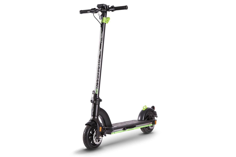 eScooter The Urban xR1 schwarz mit grün Frontansicht