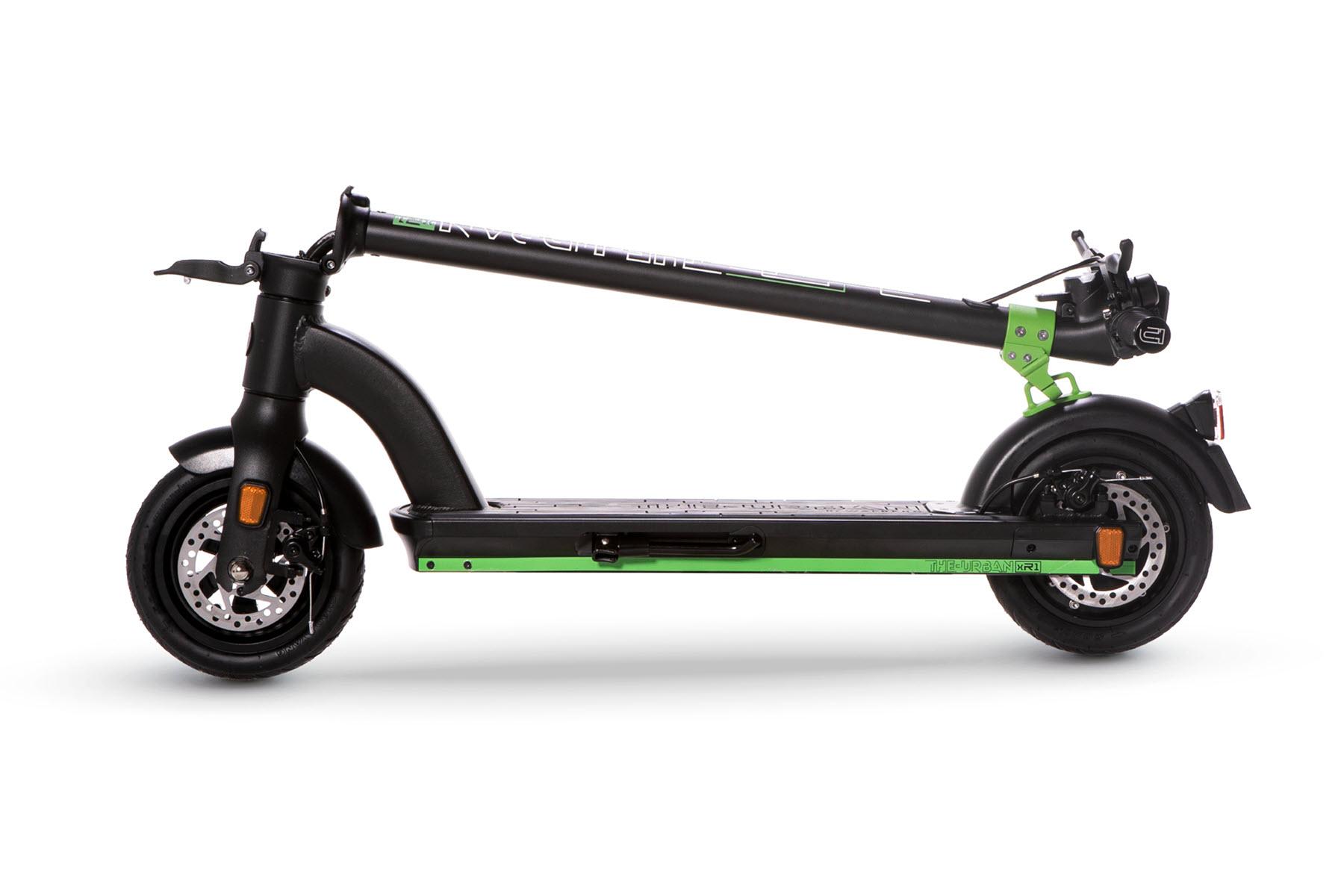 eScooter The Urban xR1 schwarz mit grün geklappt