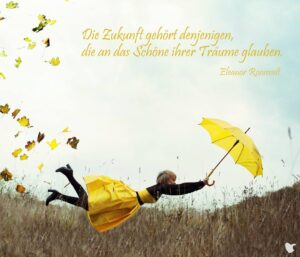 Frau mit gelbem Rock und Regenschirm fliegt