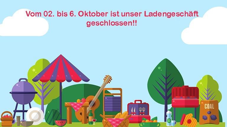 2 bis 6 Oktober geschlossen Blog