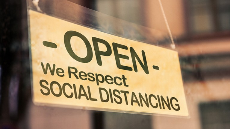 Social Distancing Open Schild