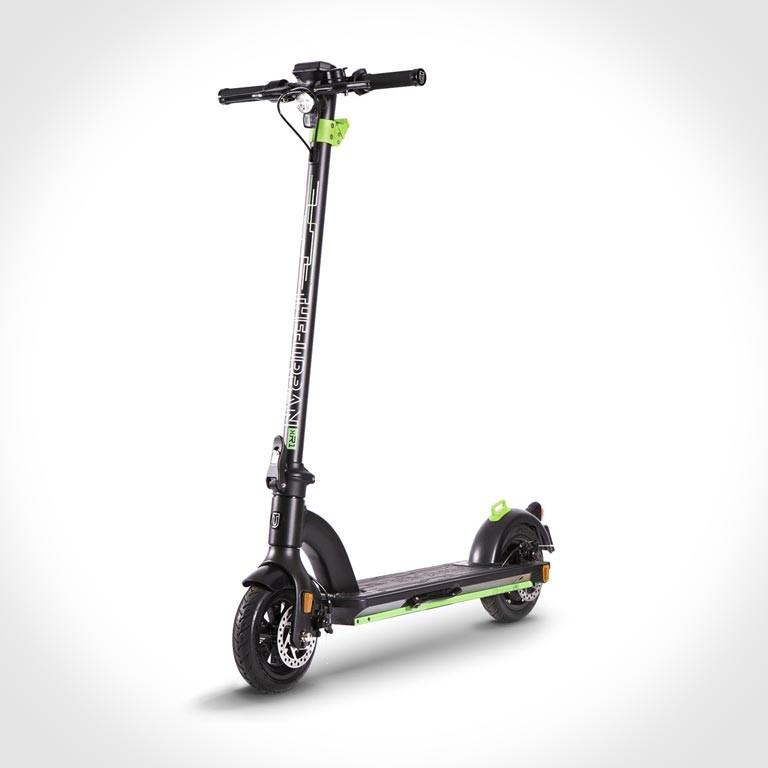 eScooter The Urban xR1 schwarz mit grün Seitenansicht