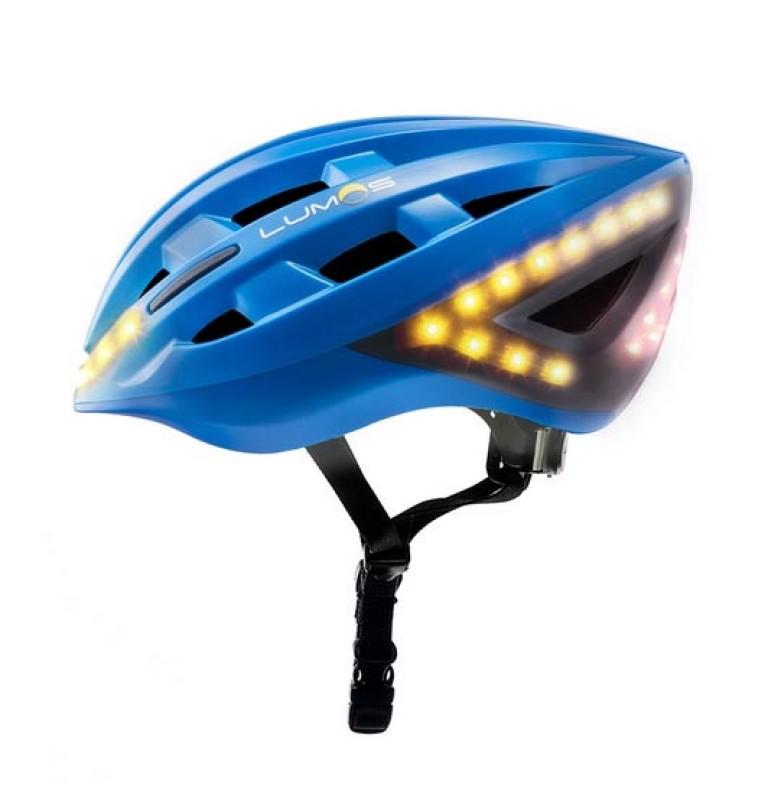 LUMOS Fahrradhelm mit integrierten LEDs und Blinkfunktion in blau