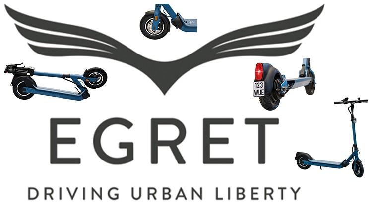 Verschiedene Ansichten eines eScooters Egret Ten V4 in blau mit LOGO