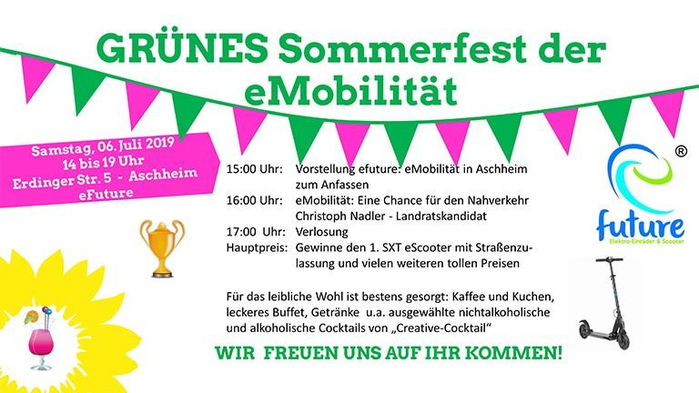Grünes Sommerfest der eMobilität eScooter und Elektroroller Probefahren und gewinnen