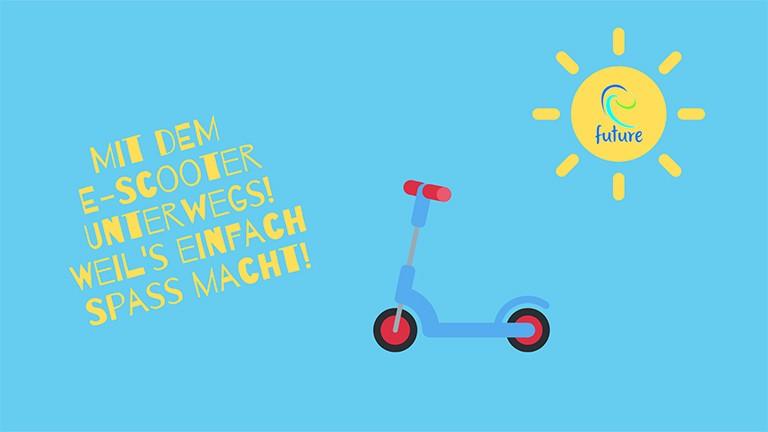 eScooter mit Sonne und blauem Hintergrund