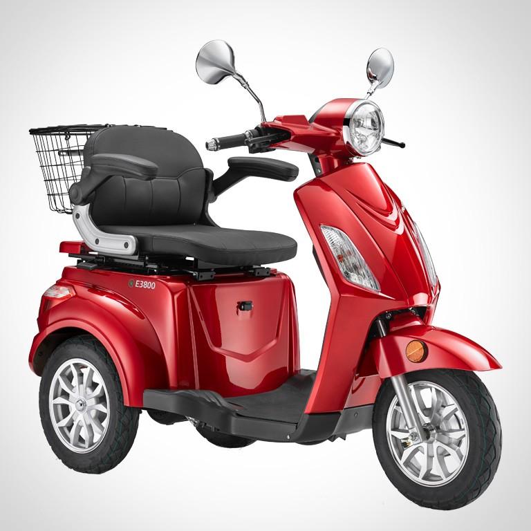 Elektroroller für Best Ager Dreirad in rot LuXXon3800 SEitenansicht