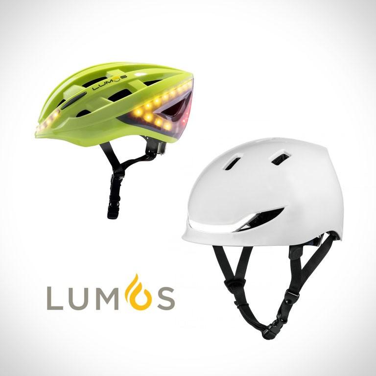 Lumos eScooter Helme mit LEDs in grün und weiss
