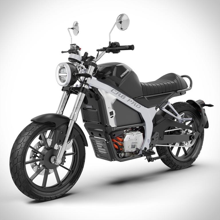 Elektromotorrad Horwin CR6 Pro in der Seitenansicht schwarz